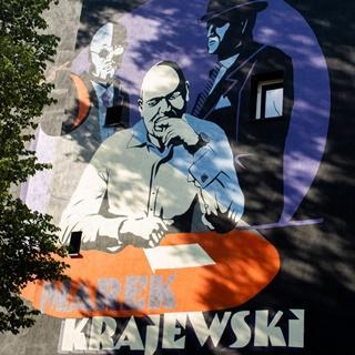 Mural - pisarz Marek Krajewski i jego bohaterowie