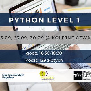 Zdjęcie wydarzenia Python level 1 – kurs stacjonarny